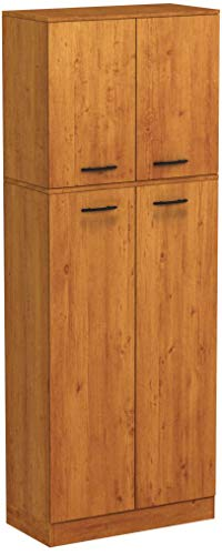 South Shore Smart Basics 4-Door Storage Pantry, Country Pine