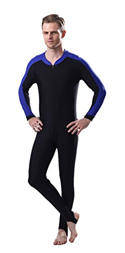 Fortuning's JDS® Men's UV protection long sleeve one piece rashguard full swimming suit diving skin by Fortuning's JDS®