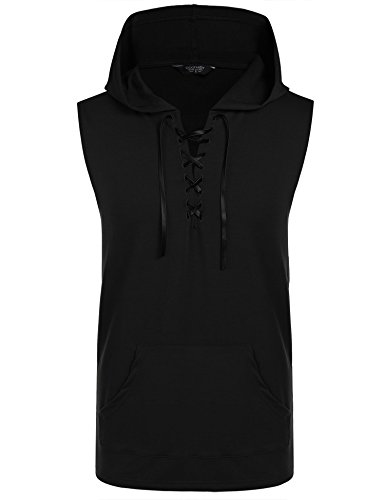 - COOFANDY Men's Workout Hooded Tank Tops Sleeveless Gym Hoodie Cut Off T Shirt Lace-up Bodybuilding Muscle Hoodie