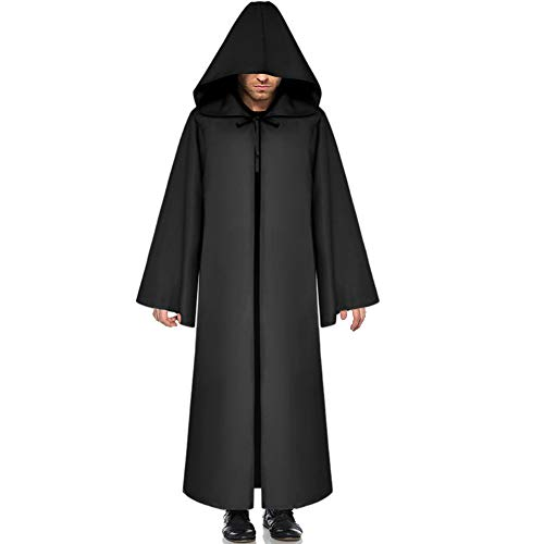 G Lake Halloween Hooded Cloak Knight Robe Cosplay Medieval Cape Christmas Party Costume for Adult (Black XXL) -
