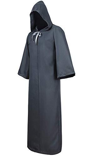 Zhitunemi Men's Black Cloak Hooded Robe Adult Unisex Cloak Knight Halloween Masquerade Cosplay Costume Cape Grey Large