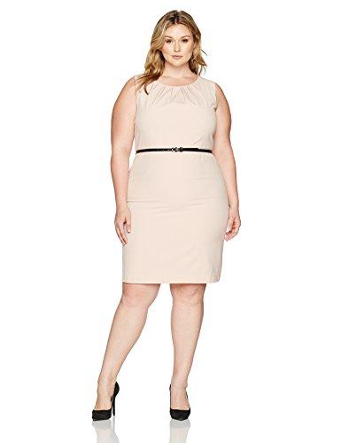 Jewel Neck Shell (Nine West Women's Plus Size S/l Pleat Jewel Neck Stretch Crepe Dress with Belt, Shell, 16W)