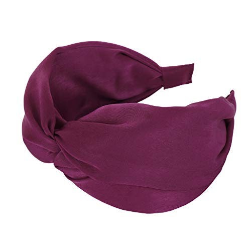 Pengy Headbands for Womens Headwraps Knitted Wide Headbands Twist Knot Cross Stretchy Solid Simple Hair Headwear Wine