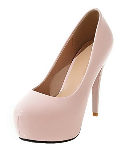 High Round Toe Solid PU Pull On Heels Women's Pink Shoes WeenFashion 36 Pumps Eq0FxwRn