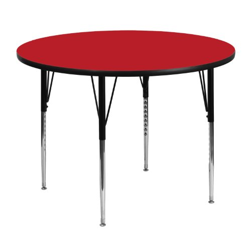 Office Round Activity Table - Flash Furniture 48'' Round Red HP Laminate Activity Table - Standard Height Adjustable Legs