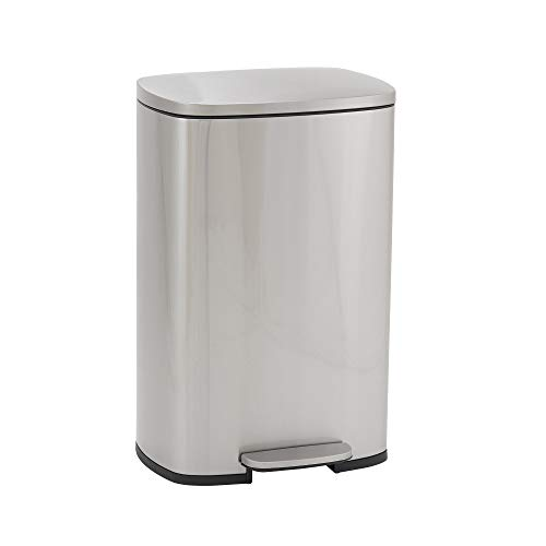 Design Trend Rectangular Stainless Steel Step Trash Can with Soft Close Lid | 50 Liter / 13 Gallon, Silver
