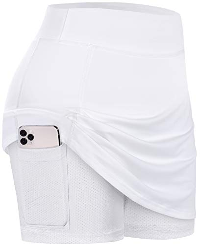 BLEVONH Women Tennis Skirts Inner Shorts Elastic Sports Golf Skorts with Pockets