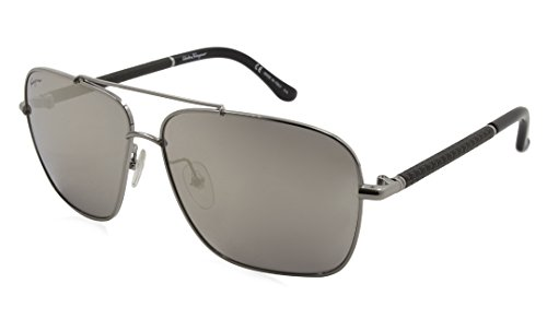 Salvatore Ferragamo Sunglasses Aviator SF145SL 035 SHINY GUNMETAL - Sunglasses Ferragamo Aviator