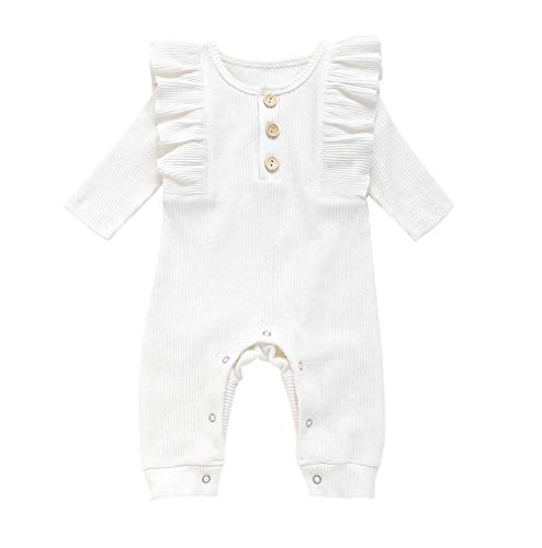 MTSLYH Newborn Baby Girl Jumpsuits Solid Ruffle Romper Bodysuit Infant One Piece Outfit White