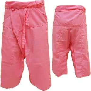 """Thai Fisherman Pants Yoga Pregnancy Pants 3/4 Pants (31"""" long) Light Cotton Pink"""