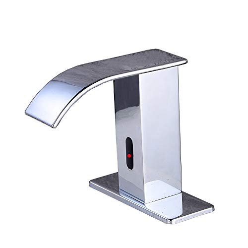 (Gangang Automatic Faucet Square Body Touchless Sensor Waterfall Bathroom Sink Vessel Faucet (Chrome A))