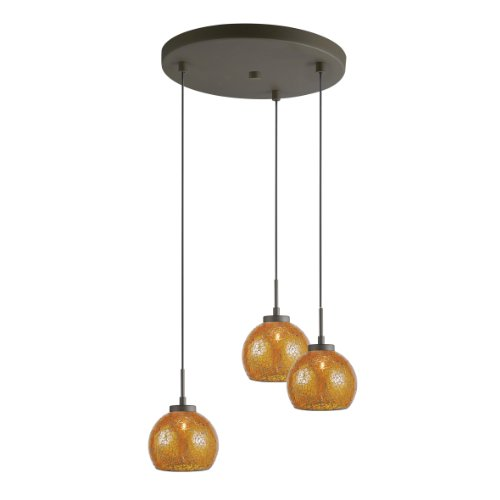 Woodbridge Lighting 13324MEB-M00AMBT 3-Light Metallic Bronze Multi-Light Pendant with Amber Mosaic Glass - Multi Amber Mosaic Glass