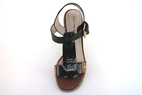 CAFE' NOIR 36 EU sandali donna nero vernice marrone pelle AG287