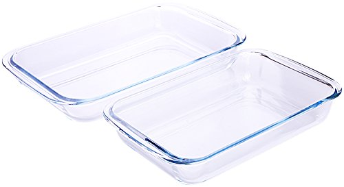 Glass Baking Dish (Borosilicate Glass Oblong Baking Dishes 2-Pack Glass Bakeware - 1.8L (11.6 x 7.1 x 2 Inch) & 2.4L (13.5 x 8.2 x 2 Inch) - Dishwasher Safe & Oven-Friendly- By Utopia Kitchen)