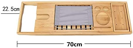 バスタブトレー 竹バーストレーバースは防水布取り外し可能なスライドトレイ滑り止めのゴムとサイドマグスマートフォンホルダーメタルフレーム帳の拡張ラック (色 : 褐色, サイズ : 70cm x 22.5cm)