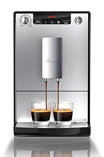 Melitta Caffeo Solo E950-103, Cafetera Molinillo, 15 Bares, Café en Grano para Espresso, Limpieza Automática, Personalizable, Plata, 1400 W, 1.2 litros, Acero Inoxidable
