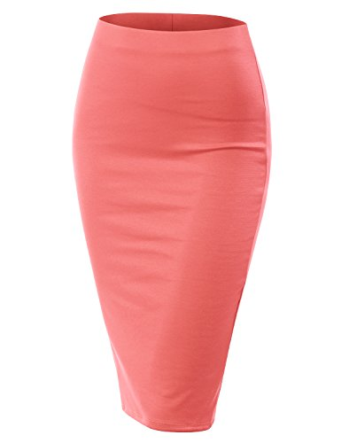 Doublju Stretch Knit Midi Pencil Skirt with Back Slit for Women with Plus Size (Made in USA) LTCORAL M