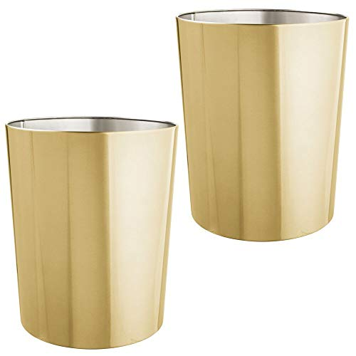mDesign Round Metal Small Trash Can Wastebasket, Garbage Container Bin for Bathrooms, Powder Rooms, Kitchens, Home Offices, Durable Stainless Steel, 2 Pack - Soft Brass ()