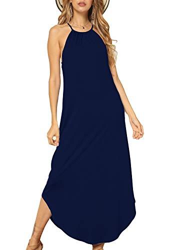 Women Casual Flowy Loose Plain Halter Neck Maxi Long Beach Dress Deep Blue L