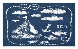 Ambesonne Navy Blue Doormat, Sea Themed Hand Print Grunge Elements Marine Underwater Yacht Cruise Pattern, Decorative Polyester Floor Mat with Non-Skid Backing, 30 W X 18 L Inches, Navy -