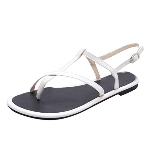 2019 New! Women Double Buckle Flat Beach Sandals Thick Bottom Platform Anti Skidding Slippers Shoes (White, 6 M US) by Swiusd (Image #1)
