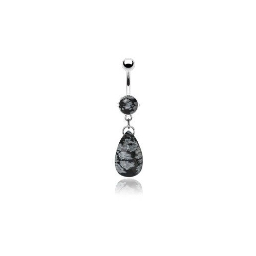 Snowflake Obsidian Semi Precious Natural Gemstone Dangle Belly Button Ring