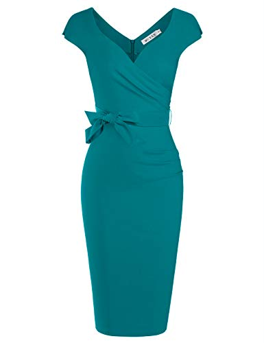 (MUXXN Ladies Cut Out Neckline Solid Color Empire Waist Wedding Bridesmaid Dress (Harbor Blue L))