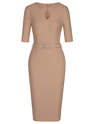 MUXXN Women's Charming Illusion Knee Length Office Business Pencil Dress with Sleeves (Camel XXL)