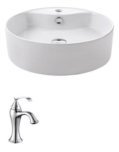 (Kraus C-KCV-142-15001CH White Round Ceramic Sink and Ventus Basin Faucet Chrome)