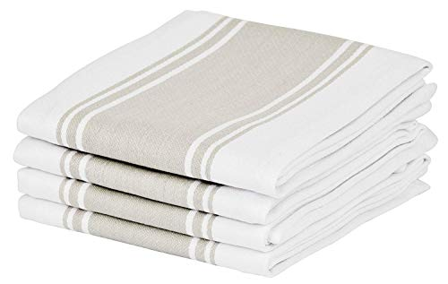 (Cucinare Kitchen Towels 100% Cotton Professional Grade Large and Absorbent with Vintage Stripe Tea Towel, Set of 4 (Size 20