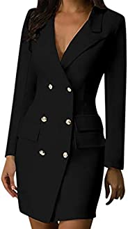 Women Turn Down Collar Double Breasted Blazer Dress Elegant Long Sleeve Mini Dress Wear to Work Business