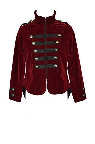 Buttons Jacket Front with Dark Star Size The Maroon Braids XL Velvet Down and XHBXAnpqSx