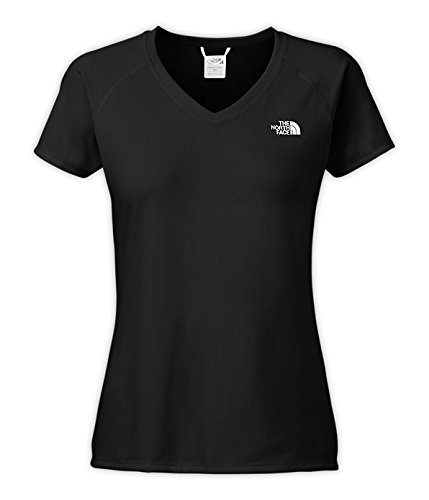 The North Face S/S Reaxion Amp V-Neck Tee Womens TNF Black/TNF White M - Face Soft T-shirt