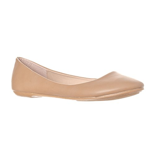 Beige Ballet Flats (Riverberry Women's Aria Closed, Round Toe Ballet Flat Slip On Shoes, Taupe PU, 7)