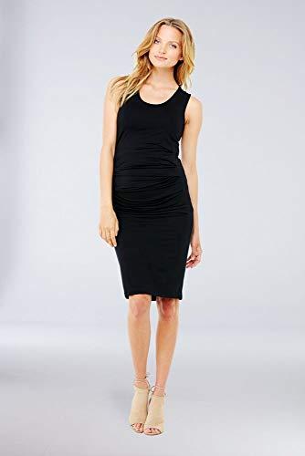 Ingrid & Isabel Women's Maternity Pleated Tank Dress, Black, Medium