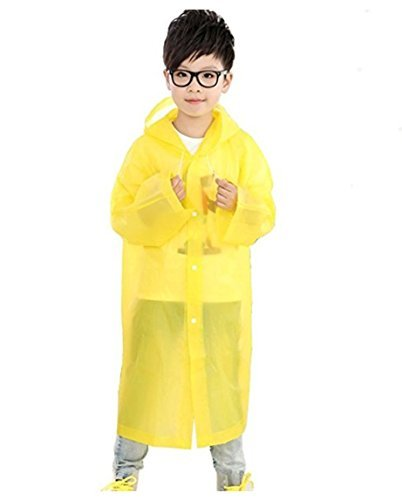 Children's Rain Ponchos with Waterproof Hood and Sleeves for