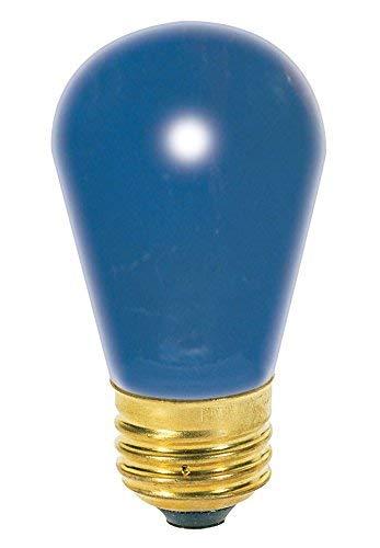 (Satco 11S14/B Incandescent Indicator & Sign, 11W E26 S14, Ceramic Blue Bulb [Pack of 12])