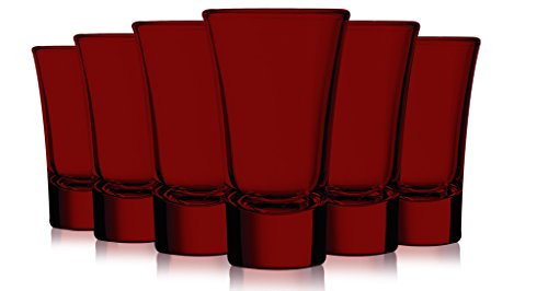 Red Colored Evase Cordial Glasses - 2 oz. set of 6- Additional Vibrant Colors Available (Glasses Cordial Colored)