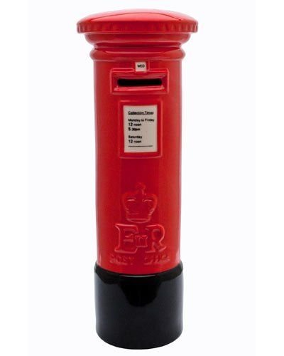 Big Red and Black Authentic Royal Mail Ceramic Pillarbox Post Box Shaped Money Box Bank Piggy Bank Ornamental 25CM Tall Windhorse