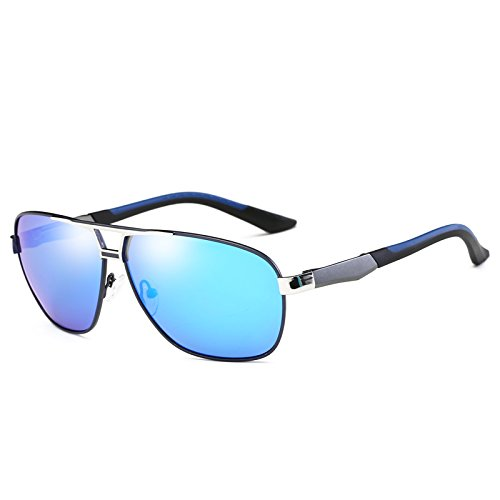 HD de Gafas de UV400 Negro metal gafas clásico polarizadas de Grey Blue gafas gafas TIANLIANG04 Rectángulo masculino sol sol de Mens Vintage Plata Anti guía Abbagliamento sol wvqXBSET