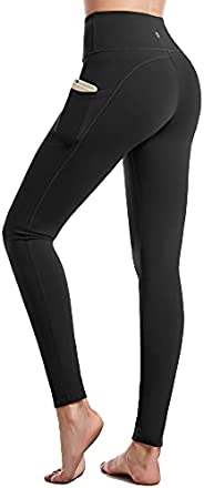 CAMBIVO High Waist Yoga Pants for Women, Non See Through Workout Leggings with 2 Sides Pocket, Tummy Control W