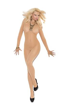 Sexy Opaque Long Sleeve Open Crotch Bodystocking Lingerie, Queen Size, Nude