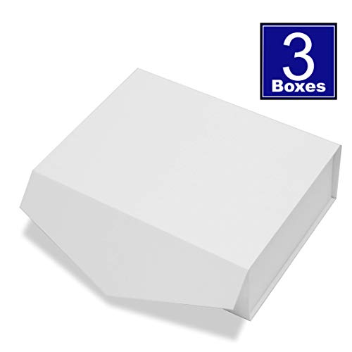 Cohaja Matte White Gift Box with Lid | 3 Pack | 12 x 9 x 4 Inch | Magnetic Closure | Multiple use | Decorative Gift or Storage Boxes for Bridesmaid Proposals, Favors, Weddings, Office and More
