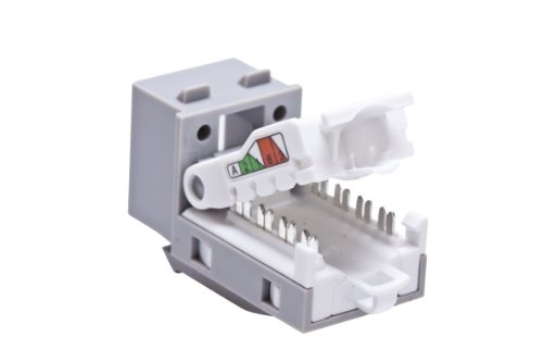 Leviton 5ETLS-RG5 Home 5e Tool-Free Snap-In Connector, T568A Wiring, (Leviton Snap In Jack)