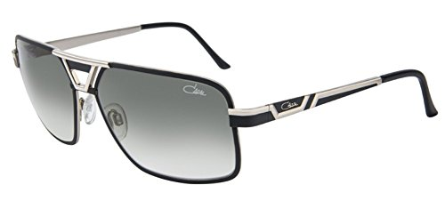 Cazal 9071 Sunglasses 002SG Black Silver / Smoke Gradient Lens 61 - Aviators Cazal