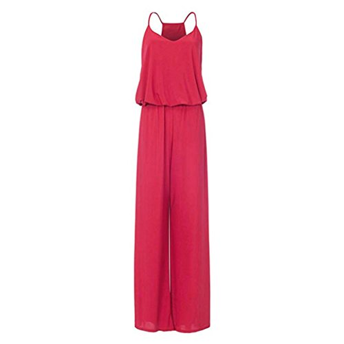 Belted Bootie - vermers Summer Rompers for Women Beach Work Sexy Chiffon Sleeveless Pure Color Racerback Jumpsuits(M, Red)