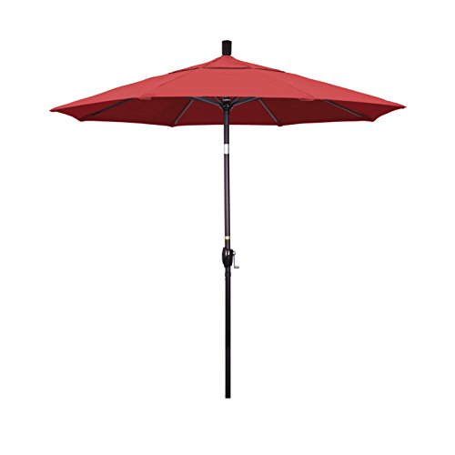 California Umbrella 7.5' Round Aluminum Market Umbrella, Crank Lift, Push Button Tilt, Bronze Pole, Sunbrella (Henna Sunbrella)