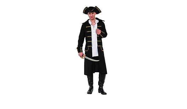 ace83d608 Amazon.com: Gentleman Pirate Costume Captain Black Coat N' Tricorn ...