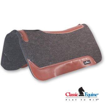 Equine Saddle Pads - Classic Equine Gray Wool Felt Saddle Pad 31x32x1