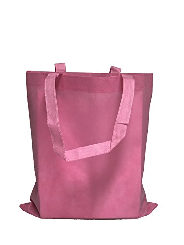 Reusable Convention - Conference Tote Bags Non Woven Bright Colors for Promotions, Giveaway Favors, Light Pink, Set of 100